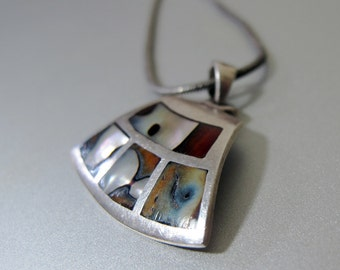 Vintage Sterling Silver and Abalone Shell Pendant and Chain