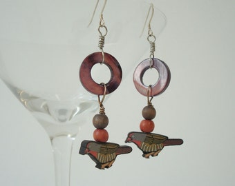 Bird Earrings Beaded Dangle Nature Earrings Woodland Jewelry Mother of Pearl Wood Polymer Clay