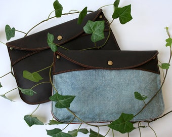 Hemp + Leather Companion Clutch- leather canvas clutch- indigo hemp envelope clutch- envelope clutch purse- leather clutch