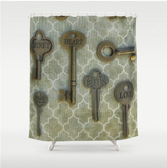 Shower Curtain French Country Skeleton Keys Farmhouse