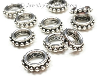 Silver Pewter Rondelle Beads, Extra Large 8mm hole, 13x3mm, Bali Look, Antique Silver Finish, Lead Free, Lot Size 6 to 40,  #1230 BH