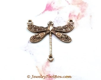 Antique Copper Dragonfly Brass Connector Pendants, 17x17mm, 3 Loops, Small, Lead & Nickel Free, Lot Sizes 4 to 10, #03C