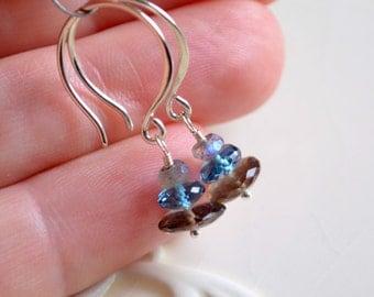 Gemstone Earrings, Smoky Quartz Jewelry, Drop, London Blue Topaz, Labradorite Stacks, Chocolate Brown, Sterling Silver, Free Shipping