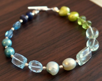 Blue and Green Beaded Bracelet, Real Freshwater Pearl, Blue Topaz Gemstone, Green Amethyst, Peridot, Sterling Silver - Free Shipping