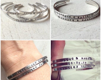 Personalized Skinny Hand Stamped Cuff Bracelets