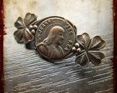 Antique Saint Joan of Arc French Religious brooch - Vintage Patriotic Jewelry Pin from France