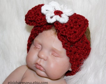Bow and Flower Headband - Stretchy - Red or ANY COLOR - Baby Girl - Child - Teen - Spring - Love