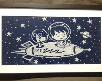 Retro Space Boy and Dog, Rocket Cross Stitch, Space Cross Stitch, Cross Stitch, Needlepoint, Rocket Pattern from NewYorkNeedleworks on Etsy