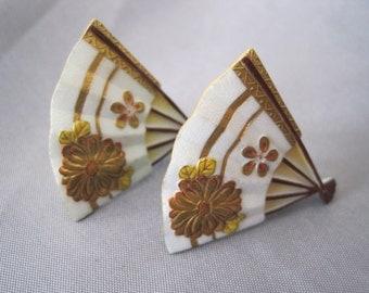 SALE:  Vintage Painted Porcelain Toshikane Fan Earrings
