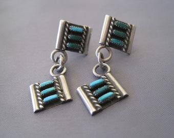 Vintage Sterling Turqoise Needlepoint Zuni Earrings