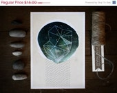 HOLIDAY SALE Meteor Shower 5x7 illustrated art print, modern abstract, cosmic, mixed media, celestial, dark blue, outer space, digital drawi