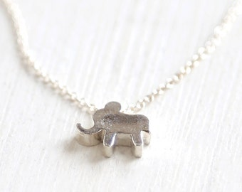 Thick Sterling Silver Elephant Necklace - simple minimalist jewelry