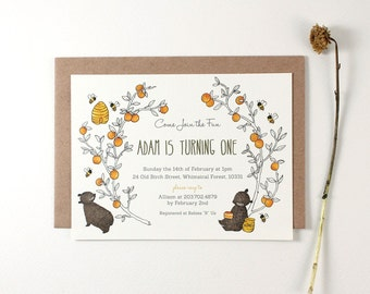 10 Personalized Invitations - Honey Bear and Oranges