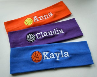 Stretch Headband in Sports Themes PERSONALIZED and FULLY CUSTOMIZABLE with your name and colors