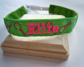 Tennis Headband Adjustable NO SLIP Hair Bands PERSONALIZED you Choose Prints Many Sports and Patterns Available