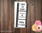 Save the Date Card - Film Strip Movie Reel in Black and White - Old Hollywood