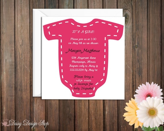 Baby Shower Invitation - Onesie for a Baby Girl on a Square Invitation
