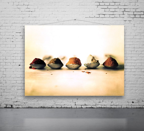 Five Spice Teaspoons, FOOD Photography, SPICE Photo, 5 Teaspoons, Kitchen Art, Indian Spice Photo, Still Life Spice Photo, Kitchen Decor