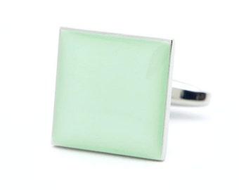 Plain Green Square Cufflinks