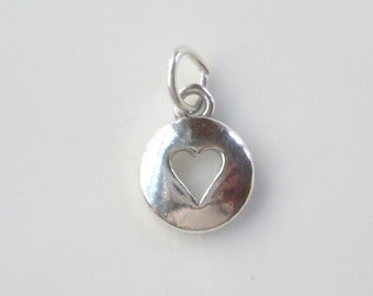 Sterling silver Round pendant with cut out heart, heart pendant , heart charm (12x15mm)