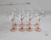 Vintage Pink Drinking Glasses - Long Stem Barware Summer Glassware Serving Home Decor