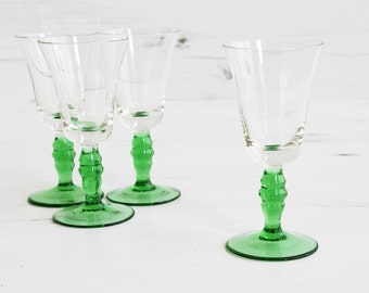 Vintage Drinking Glasses - Green small Glassware Kitchenware Barware Collection