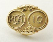 1960 ten year service lapel pin RCA music company, solid gold