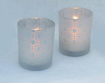 Glass Frosted Clear and Silver Votives Set of 2, for Wedding or Table Decor