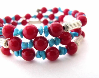 Turquoise and red coral beaded memory wire bracelet, beaded coil bracelet, wrap beaded jewelry