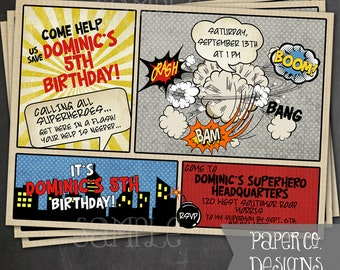 Printable Superhero Comic Book Birthday Party Invite - Digital File ONLY
