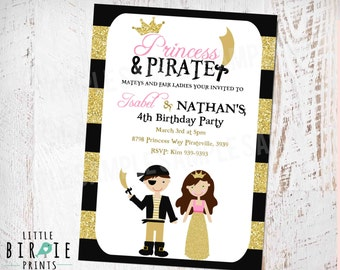 PRINCESS AND PIRATE Invitation for Birthday party Gold and Pink Princess Invitation Glitter Pirate Invitation Dual Boy and Girl Printable