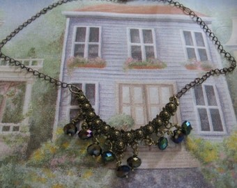 Vintage Inspired Brass Crystal Necklace