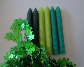 Irish Shades of Green Beeswax Candles