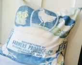 Vintage Seed Sack Pillow Cover Farmers Produce