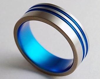 Mens Wedding Band , Titanium Ring , Promise Ring , Andromeda Band