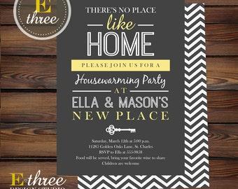 Printable Housewarming Party Invitation - Gray and Yellow Invitation - Modern House Party Invitation