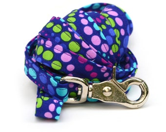 Matching 5 ft Leash - Grape Soda Polka Dots