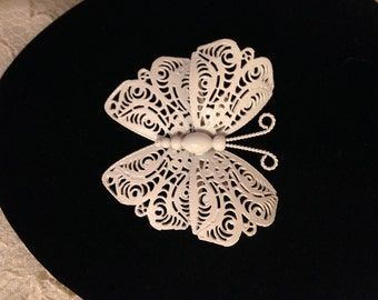 FABULOUS Large WHITE BUTTERFLY Pin by Monet