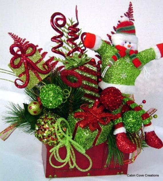 Snowman treasure chest centerpiece floral arrangement