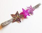 Glitter Star Headband - Silver and Pink - Sparkle Headband - Baby Headband - Baby Shower gift - Glitz Glitter Metallic Silver Confetti
