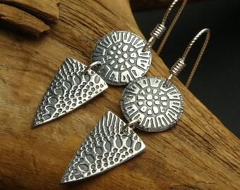 Mini Tribal Shields - PMC - Fine Silver Earrings - Small Dangles
