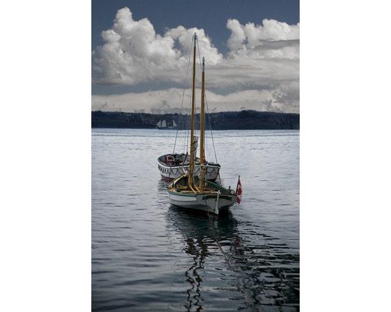 Anchored Sailing Skiffs in Halifax Harbor in Nova Scotia Canada No.1505 A Fine Art Nautical Boat Seascape Photo