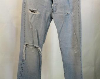 Vintage Levis Selvedge Seam Faded Jeans, Flash Dance, Boyfriend, Button front, Tattered Jeans
