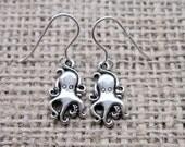 Octopus silver dangle earrings - Sterling silver hooks cute cartoon octopuses octopi cephalopods
