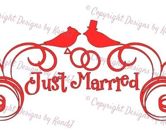 Wedding SVG Just Married svg Birds svg digital cut file  svg Instant download