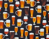 Beer Glasses Print Pure Cotton Fabric from Robert Kaufman--One Yard