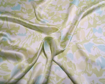 SPECIAL--Pale Green Aqua and White Abstract Floral Print Pure Silk Charmeuse Fabric--One Yard