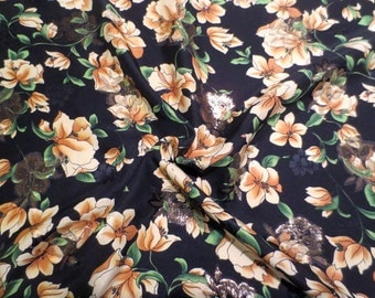 Stunning Black with Golden Yellow Floral Print Silk and Metallic Jacquard Fabric--One Yard