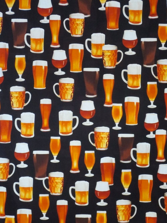Beer Glasses Print Pure Cotton Fabric From Robert Kaufmanone