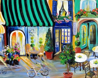 Large Paris Street Scene Painting 24 x 36 Art by Elaine Cory